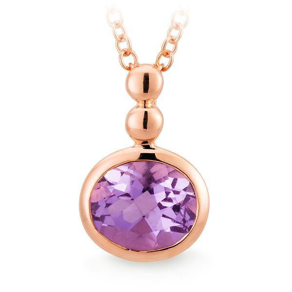 Pink Amethyst Bezel Set Pendant in 9ct Rose Gold