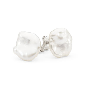 Sterling Silver 12-13mm White Keshi Stud Earrings