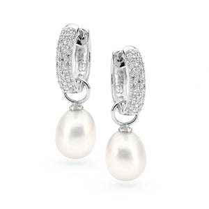 Sterling Silver CZ White Drop 8.5-9mm Freshwater Pearl Huggy Earrings (interchangeable)