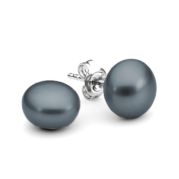 Sterling Silver Dyed Black 9mm Freshwater Pearl Button Stud Earrings