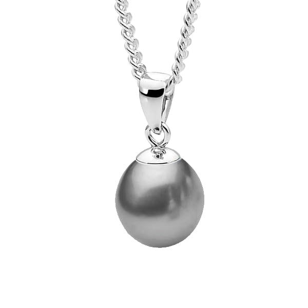 Sterling Silver Grey 10-10.5mm Freshwater Pearl Pendant