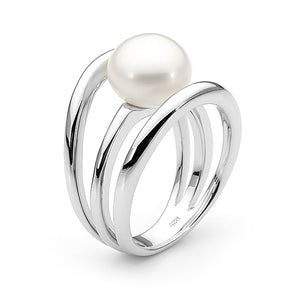 Sterling Silver White 10-10.5mm Button Freshwater Pearl Ring P-T