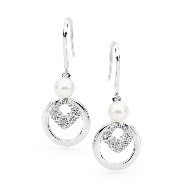 Sterling Silver White 5-6mm Button Freshwater Pearl CZ Hook Earrings