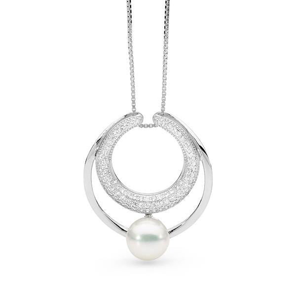 Sterling Silver White 8.5-9mm Button Freshwater Pearl Pendant with Chain 45cm +3cm ext.