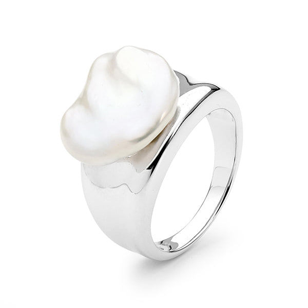 Sterling Silver White Biwa 16.5-17mm Freshwater Pearl Ring A--O