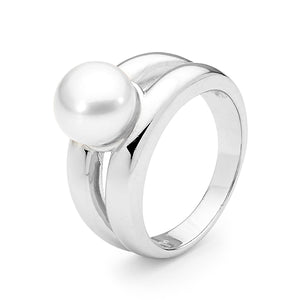 Sterling Silver White Button 8.5-9mm Freshwater Pearl Ring