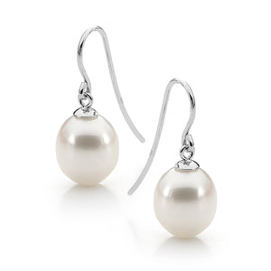 Sterling Silver White Drop 9-9.5mm Freshwater Pearl Shepherd Hook Earrings
