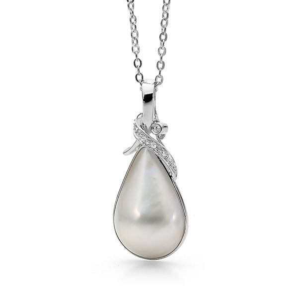 Sterling Silver tear Drop Indonesian Mabe CZ Enhancer