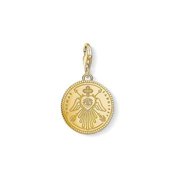 Thomas Sabo Charm Club Engraved Eye Angel Wings Gold Plated Coin