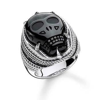 Thomas Sabo Rebel Obsidian Skull Signet Ring