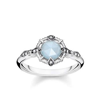 Thomas Sabo Silver Vintage Aquamarine Diamond Ring