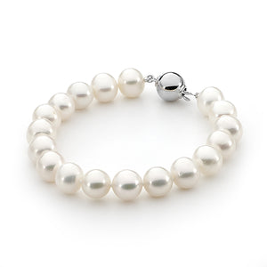 White Round 9.5-10.5mm Freshwater Pearl Bracelet Sterling Silver 19cm