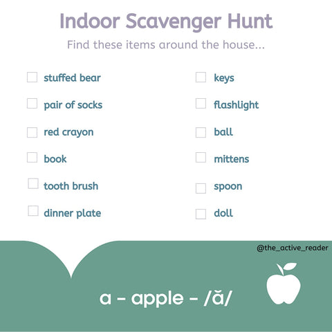 This fun and easy scavenger hunt can add some excitement to a day indoors while developing your child's vocabulary!