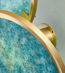 INSPIRA LIFESTYLES - Mottled Turquoise Wall Sconce - BRASS, DECORATIVE, LIGHTING, SCONCE, TURQUOISE, WALL SCONCE