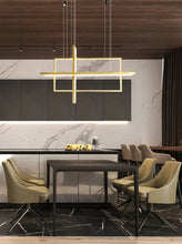Load image into Gallery viewer, INSPIRA LIFESTYLES - Geometric Rectangles LED Chandelier - ACCENT LIGHT, BLACK, CHANDELIER, DINING LIGHT, FEATURE LIGHT, GEOMETRIC, GEOMETRIC LIGHT, HANGING LIGHT, LED, LED LIGHT, LIGHT, LIGHT FIXTURE, LIGHTING, LIGHTS, MINIMALIST, MODERN, MODERN CHANDELIER, PENDANT, PENDANT LIGHT, RECTANGLE LIGHT, WHITE