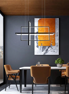 INSPIRA LIFESTYLES - Geometric Rectangles LED Chandelier - ACCENT LIGHT, BLACK, CHANDELIER, DINING LIGHT, FEATURE LIGHT, GEOMETRIC, GEOMETRIC LIGHT, HANGING LIGHT, LED, LED LIGHT, LIGHT, LIGHT FIXTURE, LIGHTING, LIGHTS, MINIMALIST, MODERN, MODERN CHANDELIER, PENDANT, PENDANT LIGHT, RECTANGLE LIGHT, WHITE