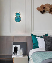 Load image into Gallery viewer, INSPIRA LIFESTYLES - Mottled Turquoise Wall Sconce - BRASS, DECORATIVE, LIGHTING, SCONCE, TURQUOISE, WALL SCONCE