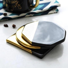 Load image into Gallery viewer, INSPIRA LIFESTYLES - Gold & Black Geometric Coaster Set - COASTERS, DINING, KITCHEN, TABLEWARE