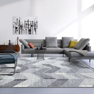 INSPIRA LIFESTYLES - Grey Chevrons Large Area Rug - AREA RUG, BEDROOM CARPET, CARPET, COMMERCIAL, DINING ROOM CARPET, FLOOR MAT, GEOMETRIC RUG, GRAY RUG, HOTEL CARPET, LIVING ROOM CARPET, MODERN RUG, MONOCHROME RUG, PILE CARPET, POLYESTER RUG, RECTANGLE AREA RUG, RUG, RUGS, WOVEN RUG
