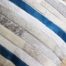 Load image into Gallery viewer, INSPIRA LIFESTYLES - Blue Stripe Cowhide Pillow - ACCENT PILLOW, ACCESSORIES, CUSHION, DECORATIVE PILLOW, HOME DECOR, LEATHER, PILLOW, SOFTGOODS, THROW PILLOW