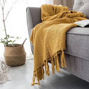 Mustard Chevron Knit Throw