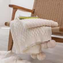 Load image into Gallery viewer, Diamond Knit Throw w/ Pompom