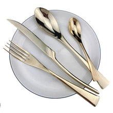 Load image into Gallery viewer, INSPIRA LIFESTYLES - Polished Modern Cutlery Set - 24 PCS - CUTLERY, DINNER WARE, FORK, KNIFE, MODERN CUTLERY, SERVING WARE, SPOON, STAINLESS STEEL, TABLEWARE