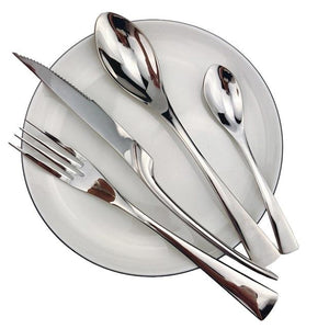 INSPIRA LIFESTYLES - Polished Modern Cutlery Set - 24 PCS - CUTLERY, DINNER WARE, FORK, KNIFE, MODERN CUTLERY, SERVING WARE, SPOON, STAINLESS STEEL, TABLEWARE