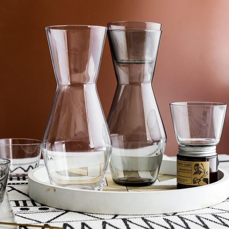 INSPIRA LIFESTYLES - Crystal Carafe & Glasses Set - CUP, GLASSES, PITCHER, TABLEWARE, WATER JUG, WINE CARAFE