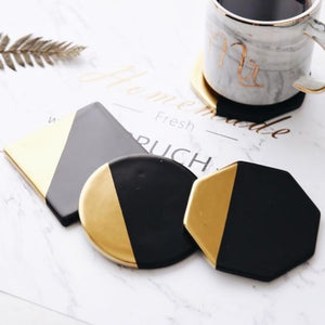 INSPIRA LIFESTYLES - Luxury Golden Plating Ceramic Cup Mat Pads Porcelain Drink Coffee Mug Coasters Black Of The Table Home Decorations Kitchen Tool - COASTERS, DINING, KITCHEN, TABLEWARE