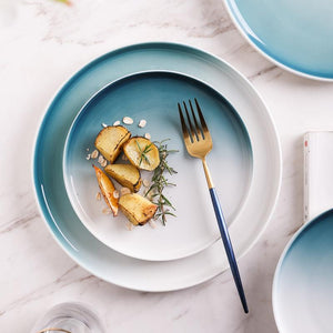 INSPIRA LIFESTYLES - Ombre Gradient Plates - BLUE PLATE, DINNERWARE, GRADIENT, GUEST PLATE, MODERN DINING, MODERN PLATE, OMBRE, OMBRE PLATE, PLATE, PLATES, SERVING DISH, SERVING PLATE, SERVING WARE, SERVINGWARE, TABLEWARE