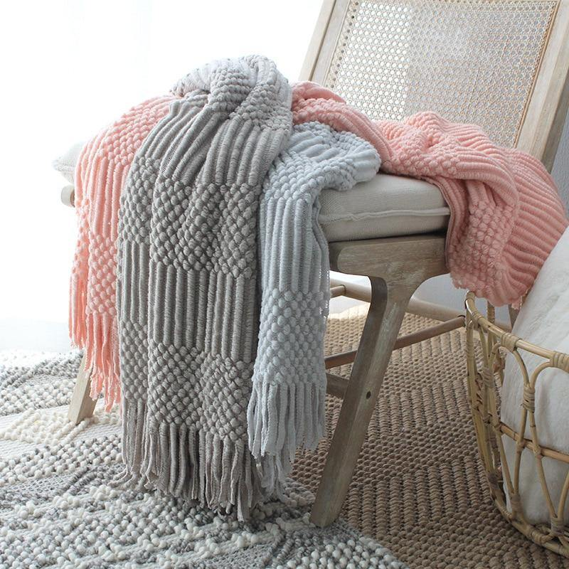 Textured Tassel Knit Throw