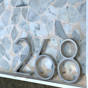 INSPIRA LIFESTYLES - Modern House Number Satin Nickel - ADDRESS, DOOR NUMBER, HARDWARE, HOME & GARDEN, HOUSE NUMBER, SATIN NICKEL, SIGN, SILVER, ZINC ALLOY