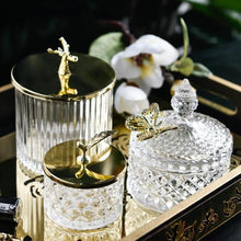 Load image into Gallery viewer, INSPIRA LIFESTYLES - Crystal Cut Glass Jars - ACCESSORIES, BATHROOM, BRASS, DECOR, DECORATION, GLASS, GLASS JARS, ORGANIZER