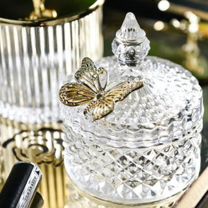INSPIRA LIFESTYLES - Crystal Cut Glass Jars - ACCESSORIES, BATHROOM, BRASS, DECOR, DECORATION, GLASS, GLASS JARS, ORGANIZER