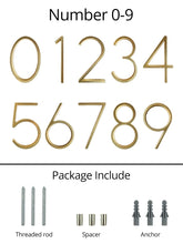 Load image into Gallery viewer, INSPIRA LIFESTYLES - Modern House Number Satin Brass - ADDRESS, DOOR NUMBER, GOLD, HARDWARE, HOME & GARDEN, HOUSE NUMBER, SATIN BRASS, SIGN
