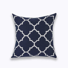 Load image into Gallery viewer, INSPIRA LIFESTYLES - Classic Motif Embroidered Pillow - ACCENT PILLOW, ACCESSORIES, CANVAS, CLASSIC, Classic Blue Black & White Embroidered Pillow, COTTON, CUSHION, DECORATIVE PILLOW, DEMASK, EMBROIDERED, FILIGREE, HOME DECOR, PILLOW, QUADRAFOIL, SOFTGOODS, THROW PILLOW, TRADITIONAL