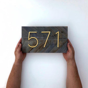 INSPIRA LIFESTYLES - Modern House Number Satin Brass - ADDRESS, DOOR NUMBER, GOLD, HARDWARE, HOME & GARDEN, HOUSE NUMBER, SATIN BRASS, SIGN