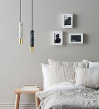 Load image into Gallery viewer, INSPIRA LIFESTYLES - Alistair LED Marble Pendant - BEDROOM LIGHT, BEDSIDE LIGHT, BRASS, DINING LIGHT, HANGING LIGHT, LED, LIGHT, LIGHT FIXTURE, LIGHTING, LIGHTS, LIVING ROOM LIGHT, MARBLE, MINIMAL, MODERN, PENDANT LIGHT, SCULPTURAL LIGHT, STONE