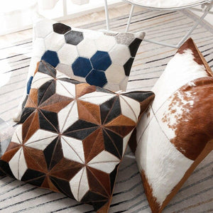 INSPIRA LIFESTYLES - Quadrant Cowhide Pillow - ACCENT PILLOW, ACCESSORIES, CUSHION, DECORATIVE PILLOW, HOME DECOR, LEATHER, PILLOW, SOFTGOODS, THROW PILLOW