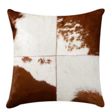 Load image into Gallery viewer, INSPIRA LIFESTYLES - Quadrant Cowhide Pillow - ACCENT PILLOW, ACCESSORIES, CUSHION, DECORATIVE PILLOW, HOME DECOR, LEATHER, PILLOW, SOFTGOODS, THROW PILLOW