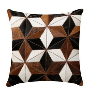 INSPIRA LIFESTYLES - Diamond Star Cowhide Pillow - ACCENT PILLOW, ACCESSORIES, CUSHION, DECORATIVE PILLOW, HOME DECOR, LEATHER, PILLOW, SOFTGOODS, THROW PILLOW