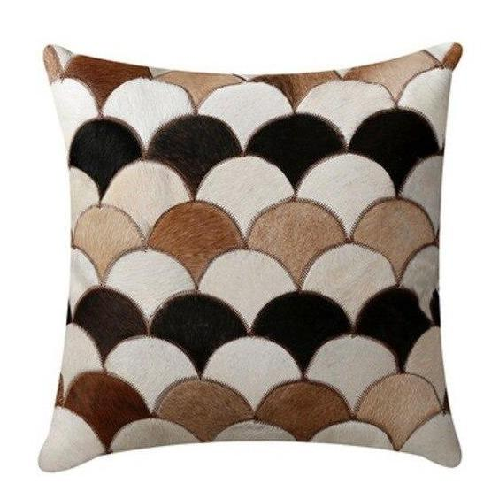 INSPIRA LIFESTYLES - Scales Cowhide Pillow - ACCENT PILLOW, ACCESSORIES, CUSHION, DECORATIVE PILLOW, HOME DECOR, LEATHER, PILLOW, SOFTGOODS, THROW PILLOW