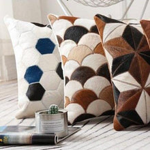 Load image into Gallery viewer, INSPIRA LIFESTYLES - Hexagon Cowhide Pillow - ACCENT PILLOW, ACCESSORIES, CUSHION, DECORATIVE PILLOW, HOME DECOR, LEATHER, PILLOW, SOFTGOODS, THROW PILLOW