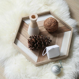 INSPIRA LIFESTYLES - Geometric Wooden Tray - DECOR, DISH, GEOMETRIC, KITCHEN, PLATE, SERVING PLATE, SERVING TRAY, TABLEWARE, TRAY, WOOD