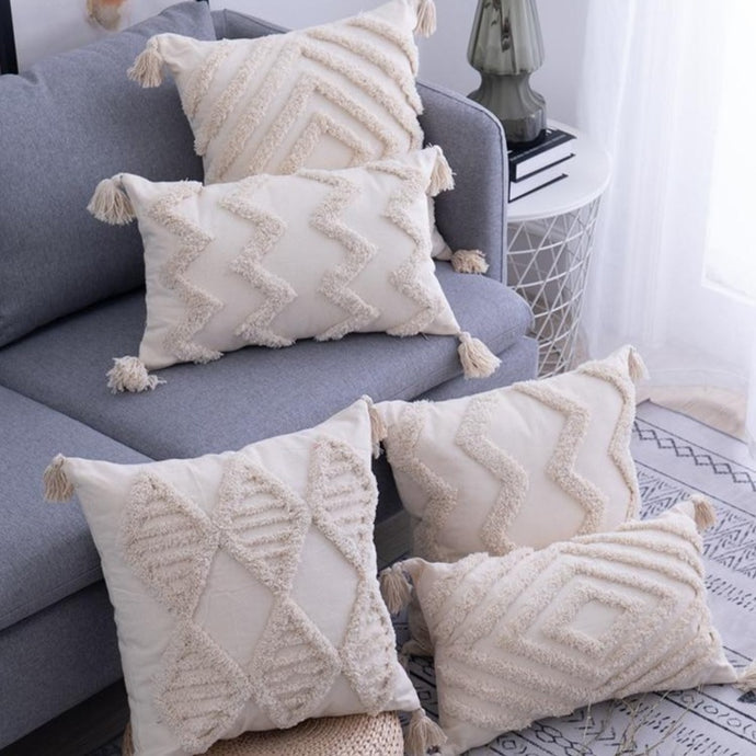 INSPIRA LIFESTYLES - Hand Tufted Pillow w/ Tassels - ACCENT PILLOW, ACCESSORIES, COTTON, CUSHION, DECORATIVE PILLOW, HAND MADE, HAND TUFTED, HOME DECOR, PILLOW, POLYESTER, SOFTGOODS, TASSELS, THROW PILLOW