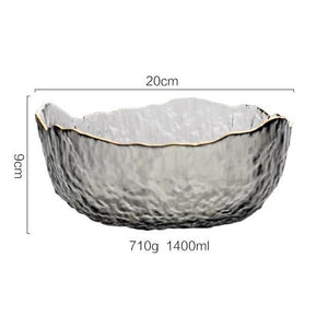 INSPIRA LIFESTYLES - Gold Rim Glass Serving Bowls - BOWL, BOWLS, FRUIT BOWL, SALAD BOWL, TABLEWARE