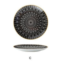 Load image into Gallery viewer, INSPIRA LIFESTYLES - Black & White Graphic Pattern Plate - BLACK & WHITE, DESSERT PLATE, DINNER PLATE, MODERN PLATES, MONOCHROME, PLATE, PLATES, SALAD PLATE, TABLEWARE