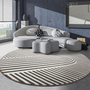 INSPIRA LIFESTYLES - Graphic Stripe Round Area Rug - ACCENT RUG, AREA RUG, BEDROOM CARPET, CARPET, COMMERCIAL, DINING ROOM CARPET, FLOOR MAT, GRAPHIC, HOTEL CARPET, LIVING ROOM CARPET, OFFICE CARPET, PILE CARPET, RUG, STRIPE, WOVEN RUG