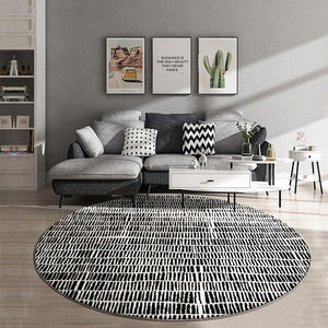 INSPIRA LIFESTYLES - Tab Pattern Round Area Rug - ACCENT RUG, AREA RUG, BEDROOM CARPET, BLACK AND WHITE, CARPET, COMMERCIAL, DINING ROOM CARPET, FLOOR MAT, HOTEL CARPET, LIVING ROOM CARPET, OFFICE CARPET, PILE CARPET, RUG, WOVEN RUG